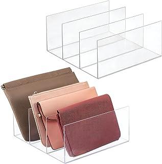 mDesign پلاستیکی تقسیم کننده کیف برای کمد ، اتاق خواب ، کمد - محلول ذخیره سازی کمد برای ، کیف پول ، کلاچ ، کیف پول ، لوازم جانبی - 3 بخش ، 2 بسته - پاک