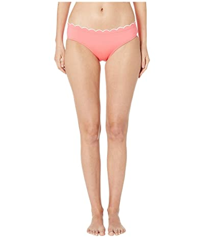 Kate Spade New York Contrast Scalloped Hipster Bikini Bottoms (Bright Peony) Women