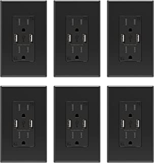 ELEGRP USB Charger Wall Outlet, Dual High Speed 4.0 Amp USB Ports with Smart Chip, 15 Amp Duplex Tamper Resistant Receptacle Plug NEMA 5-15R, Wall Plate Included, UL Listed (6 Pack, Black)