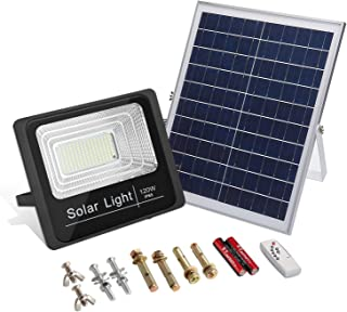 120W Solar Powered Street Flood Lights, 210 LEDs Dusk to Dawn 6000 Lumens Chargeable Outdoor Waterproof IP65 with Remote Control Security Lighting for Yard, Garden, Gutter, Swimming Pool, Pathway
