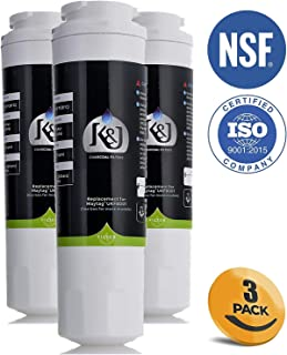K&J UKF8001 Refrigerator Water Filter, Compatible with Maytag Filter 4 - Replacement for Maytag UKF8001, UKF8001AXX, EDR4RXD1, Whirlpool 4396395, 469006, EveryDrop, PUR, Puriclean II (3 Pack)