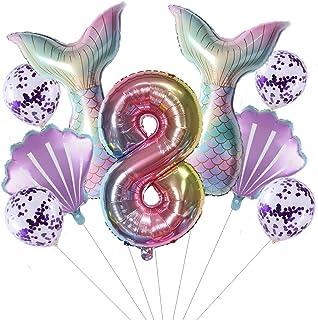 Grote zeemeermin luchtballon, set meisjes 8 jaar, kleurrijk, kinderverjaardag, decoratie, meisjes, zeemeermin, ballon, 8e ...