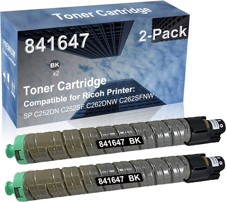 2-Pack (Black) Compatible High Yield 841647 Laser Printer Toner Cartridge Used for Ricoh MP C3002 MP C3502 Printer