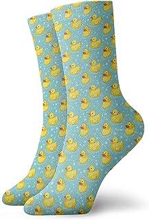 GHJL, Calcetines Deportivos (30 cm), diseño de Burbujas de Pato, Color Amarillo