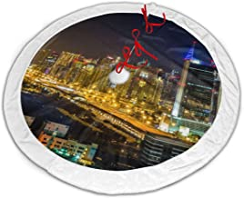FriendEver Dubai City Night Christmas Tree Skirt Plush Border for Christmas Decorations, Holiday Decorations, Indoor and Outdoor Home Decor Gifts (36 Inches)