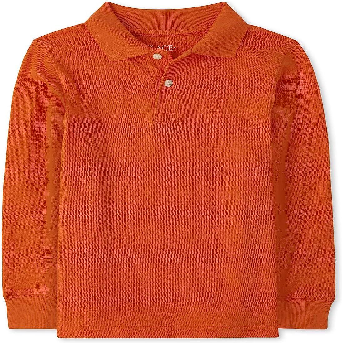 The Children's Place Boys' Uniform Long Sleeve Pique Polo