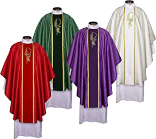Set of 4 Colors Eucharistic Jacquard Chasubles
