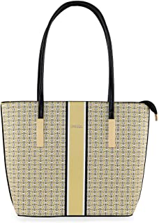 ESBEDA Yellow Color Logo Printed Basket Handbag For Women