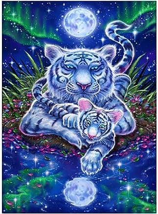Fartido Home Wall Decoration Full Diamond Painting Kits,5D DIY Tiger Animal Embroidery Cross Stitch Kits Wall Sticker Art