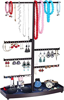 TomCare Jewelry Organizer Jewelry Tree Stand Bracelet & Necklace Holder Organizer Metal Tabletop Jewelry Display Tower Detachable Earring Tree Velvet Ring Tray Display for Watches Brooches, Bronze