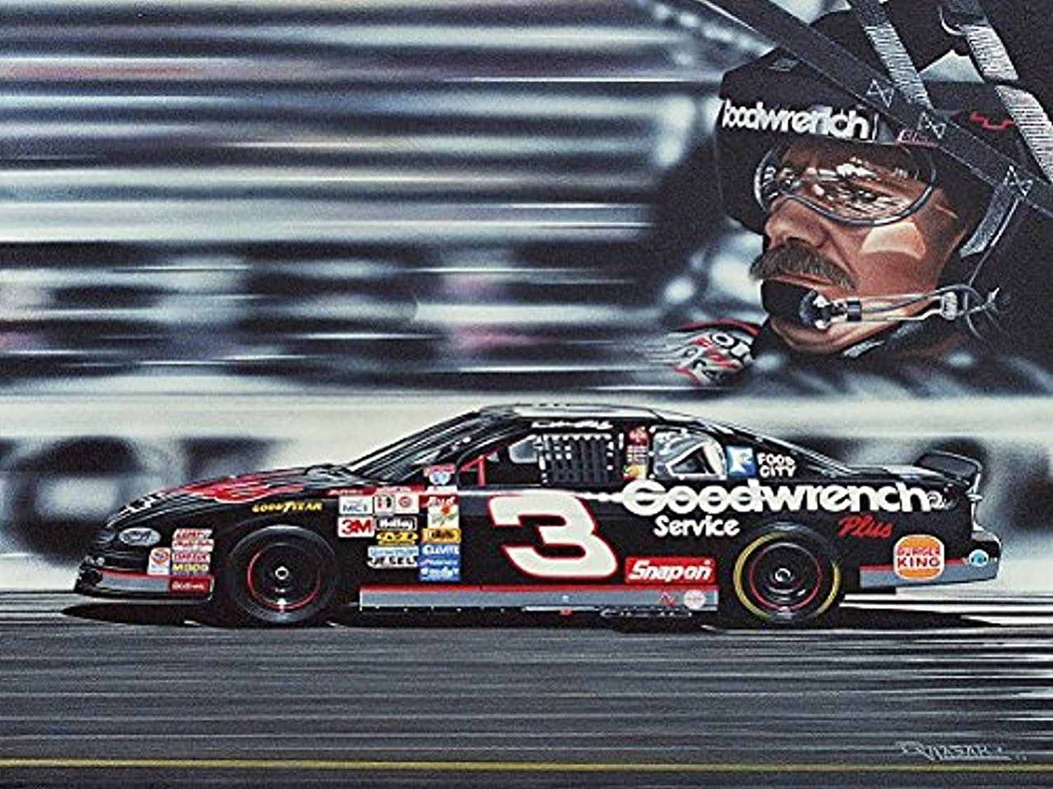 Buyartforless Canvas Dale Earnhardt by Darryl Vlasak 24x18 Painting Print on Wrapped Canvas Memorabilia NASCAR Legend. Made in The USA