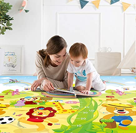 Zofey Play mat Baby mats Waterproof XL Extra Lare Size Double Side Anti Skid Big (6.5 Feet X 6 Feet) Soft Crawl Mattress Floor Matt for Kids