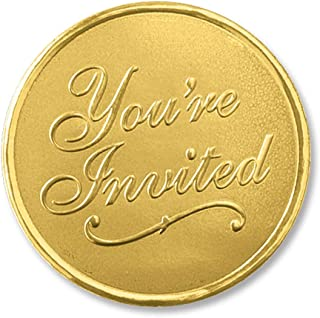 You're Invited Round Embossed Foil Seals, 48 Count (Gold)