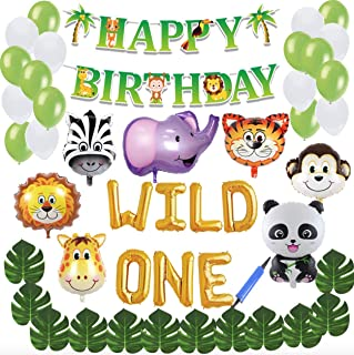 1st Birthday Boy Decorations Inflatable Balloons with Animal Jungle Design including a PUMP. Safari themed with animal balloons and green and white balloons. Happy birthday Banner along with Leaves, Straw and String included as well. Jungle Theme Wild One with Zoo Animal Balloons.