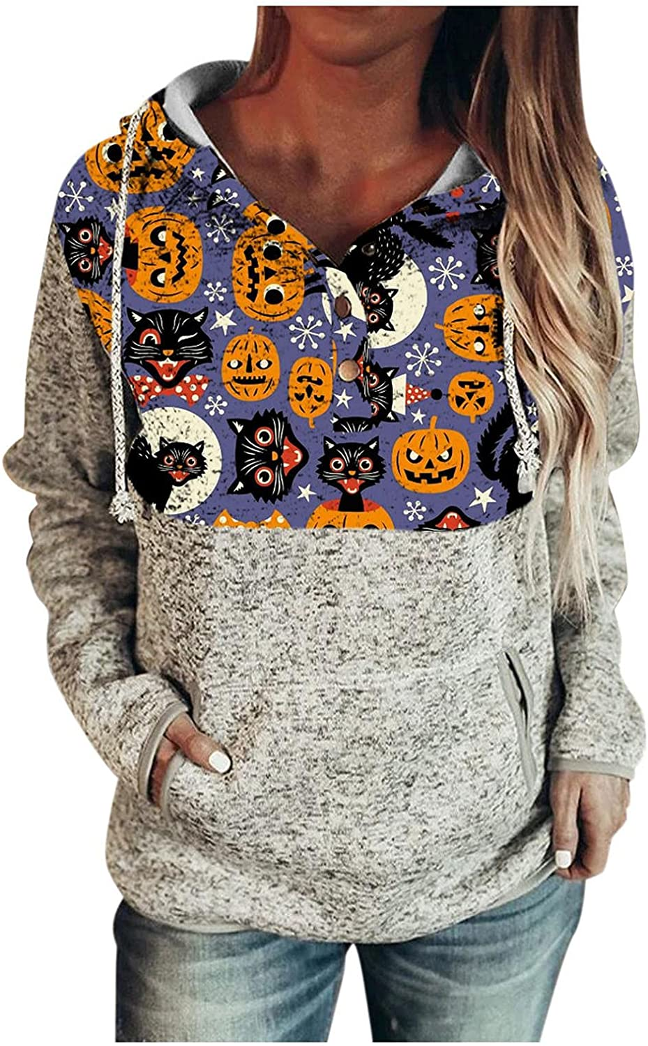 felwors Hoodies for Women, Womens Casual Halloween Print Tops Long Sleeve Drawstring Pullover Sweatshirts with Pockets