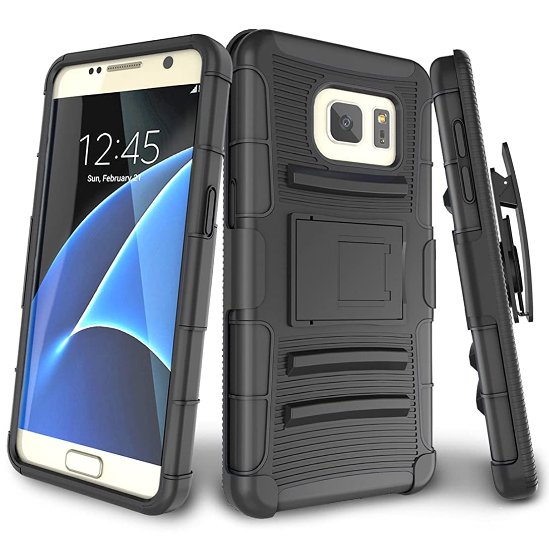Samsung Galaxy S7 Case,TILL [Knight Armor] Heavy Duty Full-Body Rugged Holster Resilient Armor Case [Belt Swivel Clip][Kickstand] Combo Cover Shell for Samsung Galaxy S7 S VII G930 GS7 [Black] ey7519724