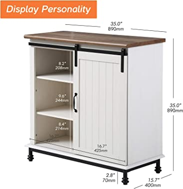 WAMPAT Farmhouse Sliding Barn Door Accent Cabinet Buffet Entryway Bar Storage Table for Living Room, Bathroom and Home Kitche