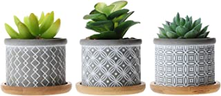 T4U 2.25 Inch Cement Succulent Planter Pot with Bamboo Tray Grey Set of 3, Small Concrete Cactus Plant Pot Indoor Herb Window Box Container for Home and Office Decor Birthday Wedding