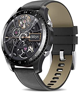 Smart Watch with Call,Health and Fitness Smartwatch with Heart Rate Blood Pressure SpO2 Monitor Sleep Tracker,App Message Reminder,Music Control,Waterproof Smart Watch (Black Leather)