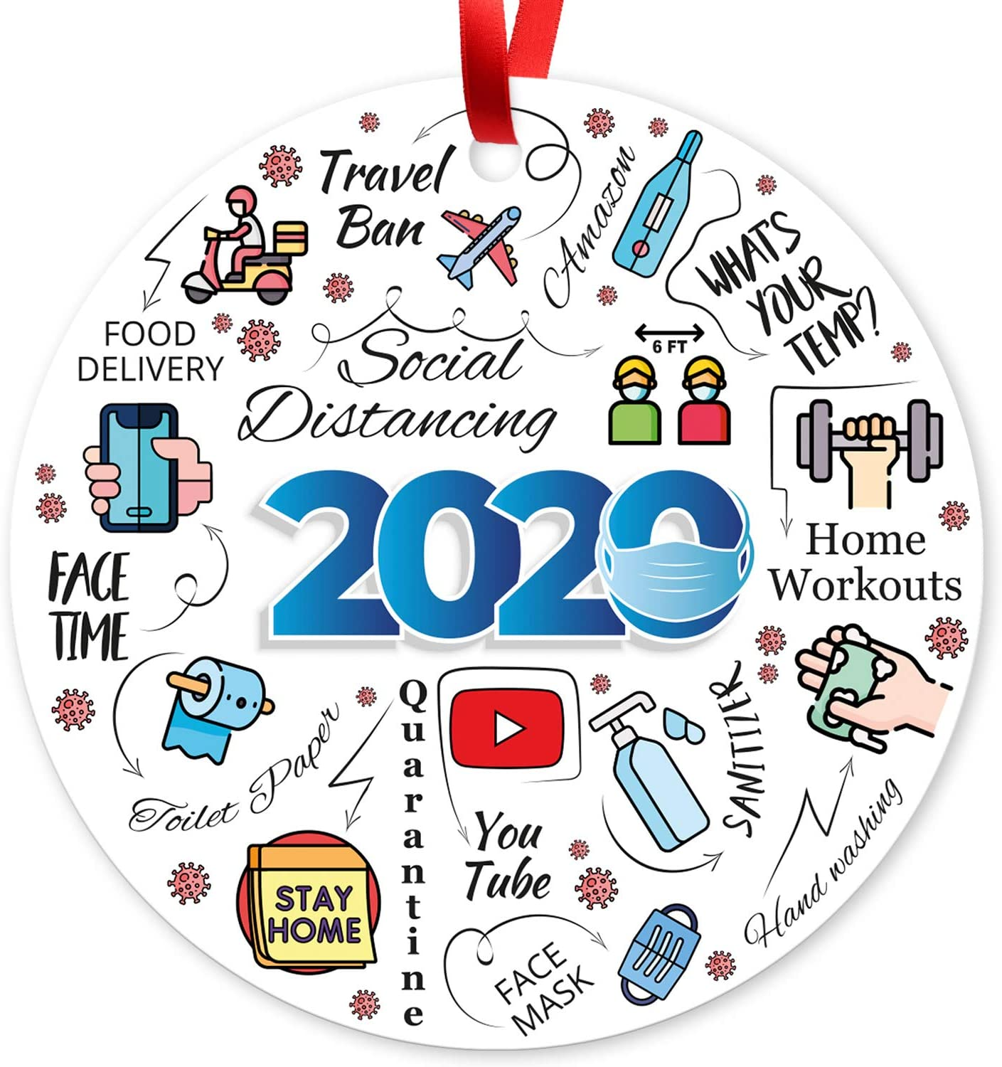 2020 Christmas Ornaments, Large 3.75