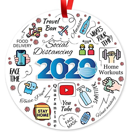 """2020 Christmas Ornaments, Large 3.75"""" Round Metal Ornament, Sigo Signs Velvet Pouch Included, by Soul Décor"""