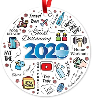 "Christmas Ornaments 2020, Large 3.75"" Round Metal Ornament, Sigo Signs Velvet Pouch Included, by Soul Décor"