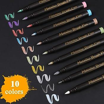 Sunshilor Brush Tip Metallic Marker Pens Metallic Brush Pens for Black Paper, Calligraphy, Lettering, Rock Painting, Halloween Pumpkin, Easter Egg, Ceramics, Wine Glass, Scrapbook Crafts, 10 Colors