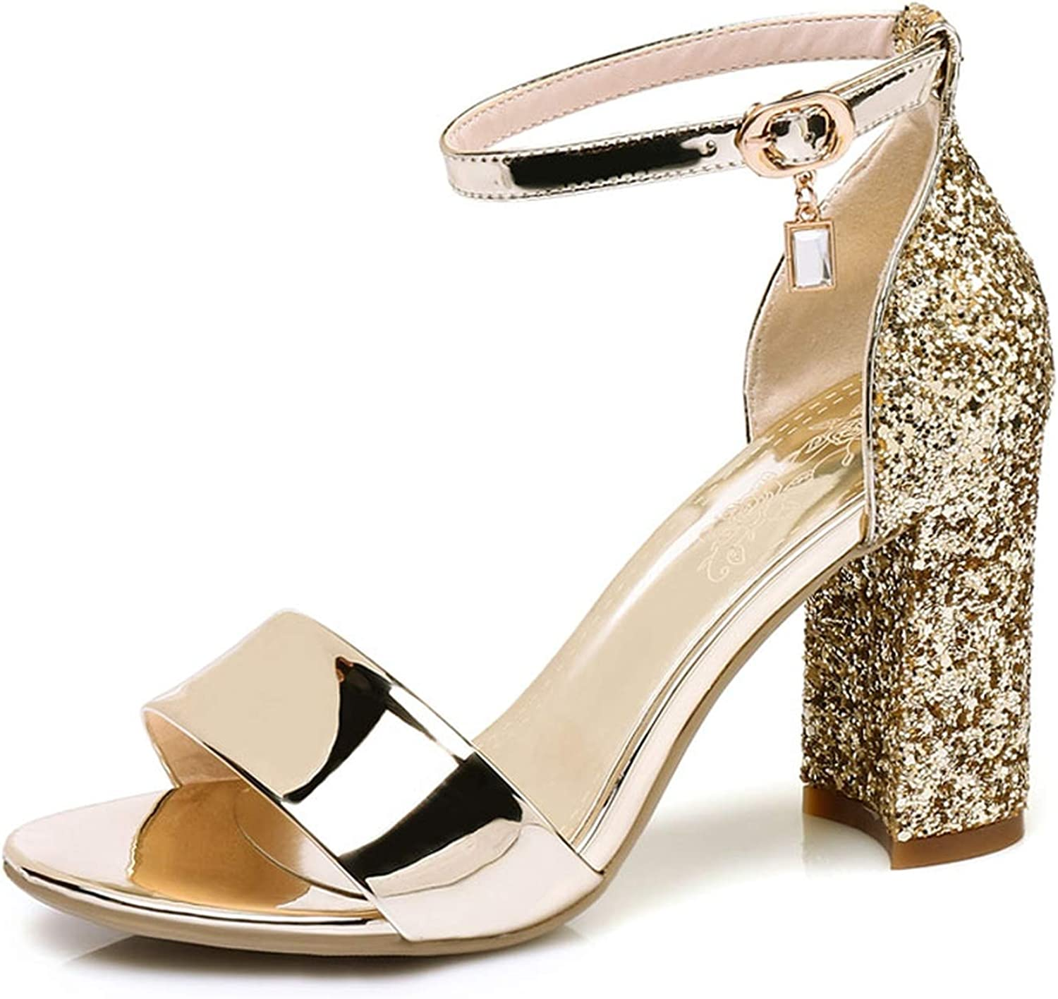Bling Solid Women's High Heel Pumps Ankle Strap Ladies Sandals Open Toe Female's Extreme High-Heeled Sandals