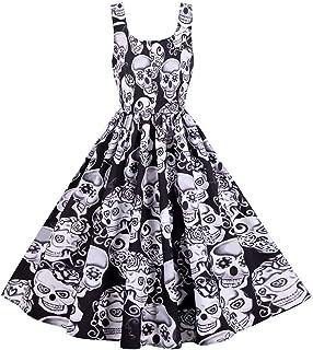QFWN Vestido de Fiesta de la Vendimia Atractiva de Halloween Esqueleto Calabaza Mujeres del Diablo de Halloween del Fantas...