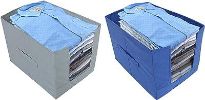 Kuber Industries 2 Piece Non Woven Shirt Stacker Wardrobe Organizer Set, Grey and Blue