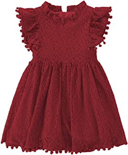 2Bunnies Girls Baby Girls Vintage Lace Eyelet Floral Flutter Ruffle Sleeve Party Princess Flower Girl Dresses