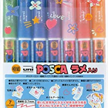 Uni Posca Glitter Marker PC-1ML 7C, Extra Fine Point, 7 Colors Set