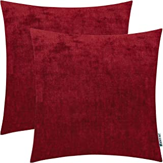 HWY 50 Cashmere Soft Decorative Throw Pillows Covers Set Cushion Cases for Couch Sofa Living Room Burgundy Wine Red Comfortable 18 x 18 inch Pack of 2