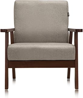 Krei Hejmo Vintage Brown Wooden Low-Seat Firm Armchairs Sofa Couch with Fabric (Single-Seater, Light Brown Fabric)