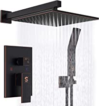SR SUN RISE Oil Rubbed Bronze Shower System 10 Inch Brass Bathroom Luxury Rain Mixer Shower Combo Set Wall Mounted Rainfall Shower Head System Shower Faucet Rough-in Valve Body and Trim Included
