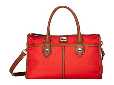 Dooney & Bourke Camden Satchel (Red/Dark Chocolate Trim) Satchel Handbags
