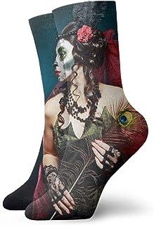 Seamless Sugar Skulls Crew Socks for Men - Men's Sport Socks - Athletic Socks