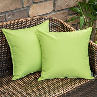 MIULEE Pack of 2 Decorative Outdoor Waterproof Pillow Cover Square Garden Cushion Case PU Coating Throw Pillow Cover Shell for Tent Park Couch 18x18 Inch Greenery