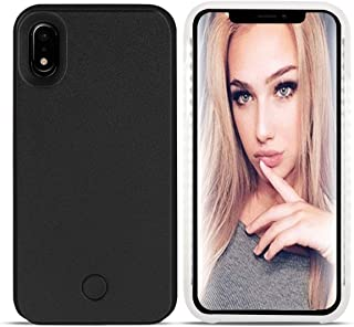 LONHEO iPhone XR Led Case iPhone XR Illuminated Cell Phone Case Great for a Bright Selfie and Facetime Light Up Case Cover for iPhone XR 6.1 inch -Black