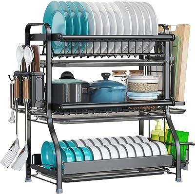 LIVOD - Estante para secar platos de 3 niveles de gran capacidad, acero inoxidable 304 con soporte para cuchillos y placa de drenaje extraíble, escurridor de platos inoxidable para cocina, organizador de encimera, color negro