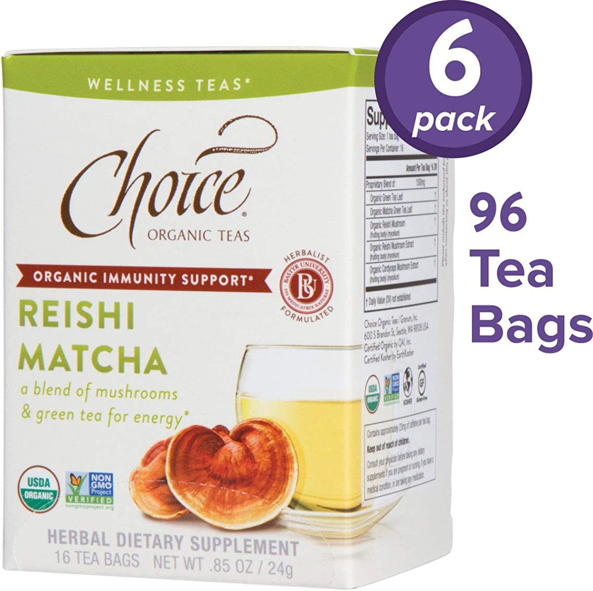 Choice Organic Teas Wellness Teas, 6 Boxes of 16 (96 Tea Bags), Reishi Matcha