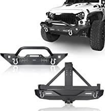 Hooke Road Jeep JK Bumper Front and Rear - Different Trail Front Bumper & Rear Bumper w/Tire Carrier Combo for 2007-2018 Jeep Wrangler JK