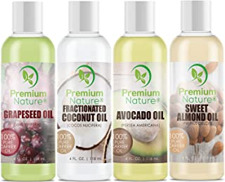 Carrier Oils For Essential Oil - 4 Piece Variety Pack Gift Set Coconut Oil Grapeseed Oil Avocado Oil & Sweet Almond Best Oils for Stretch Mark Dry Skin Moisturizer Hair Body Massage Mixing 4oz Each