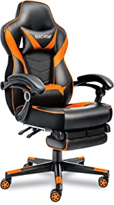 ELECWISH Ergonomic Office Gaming Chair, PU Leather High Back Office Racing Chairs with Widen Thicken Seat and Retractable Footrest and Lumbar Support, (Orange)
