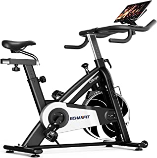 ECHANFIT Silent Magnetic Resistance Quiet Belt Drive Indoor Cycling Exercise Stationary Bike with 297lbs Max Weight and Electronic Display for Home Gym Fitness, Black