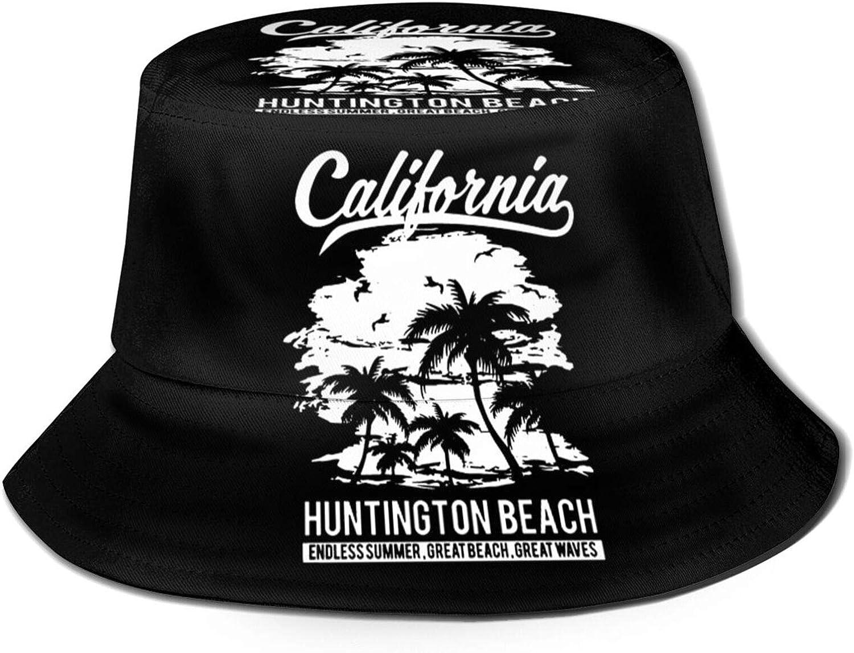 ZADPBB Huntington Beach California Funny Bucket Hat Beach Fisherman Hat for Adults Black