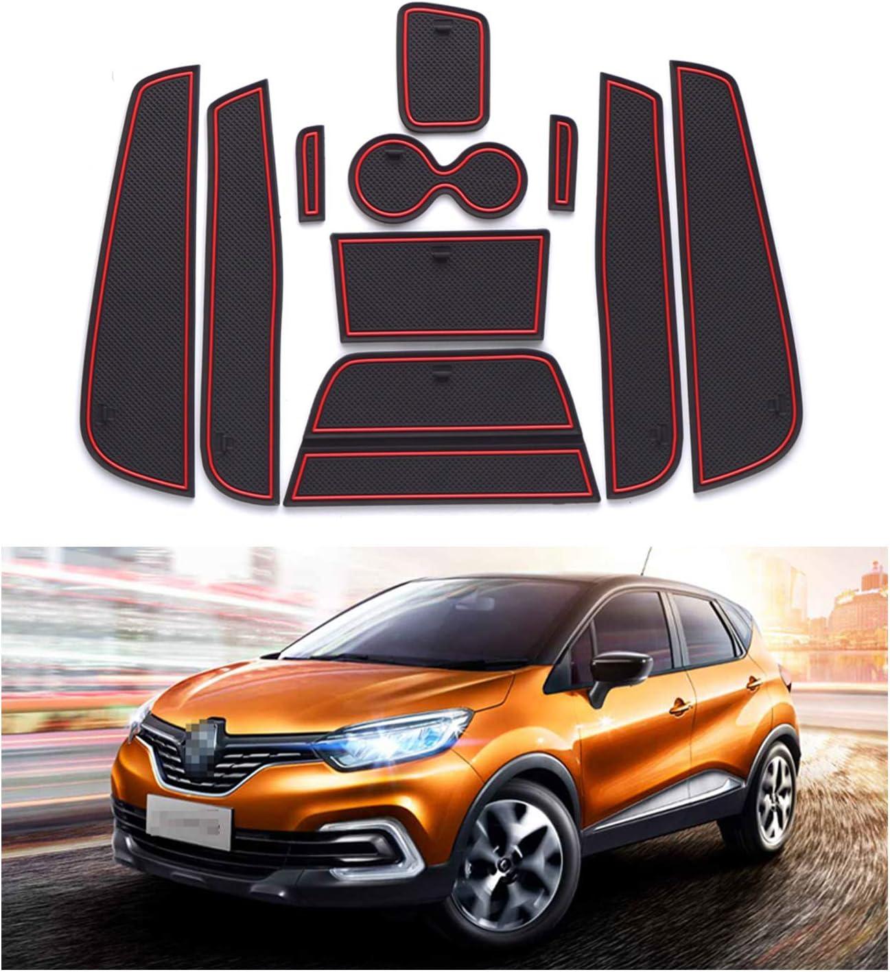 Yee Pin Gummimatte Antirutschmatten Kompatibel Mit Renault Captur Suv 2014 2017 Autoinnenausstattung Wasserbecher Aufbewahrungsbox Anti Rutsch Matte Auto