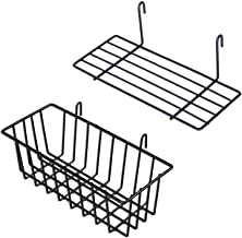 GBYAN Grid Wall Panel Decorative Iron Rack Clip Photo Holder, Painted Wire Photograph Hanging Picture Multifunctional Hanging Display Wall Storage Organizer,25.6inch x17.7inch, (2 Pack) (Shelf)