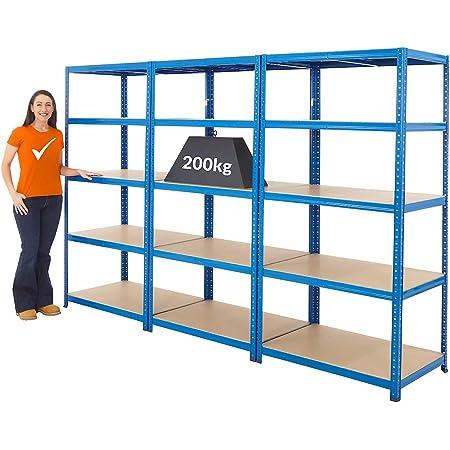 Mega Deal | 3x rayonnages pour charges lourdes - HxLxP 178 x 90 x 60 cm | 200 kg par étagère - Rayonnage métallique - étagères de garage - rangement cave - Etagère métallique solide