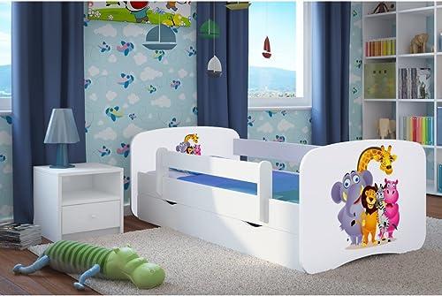 CARELLIA Cama Infantil 'Zoo' 70cm x 140cm, con Barriere Hauszapatos de + somier + cajones Incluye colchón. Color blanco